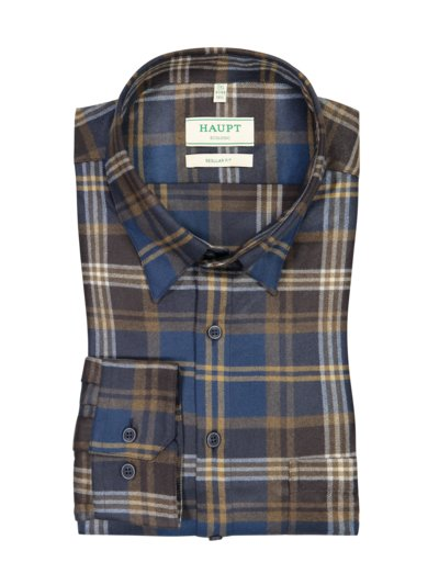 Shirt with checked pattern, breast pocket v BLUE