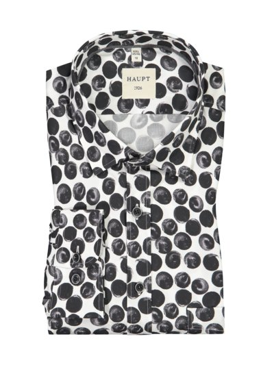 Casual shirt with dot pattern v BLACK