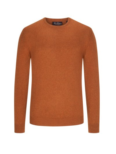 Sweater, round neck, in a cotton blend v RUST