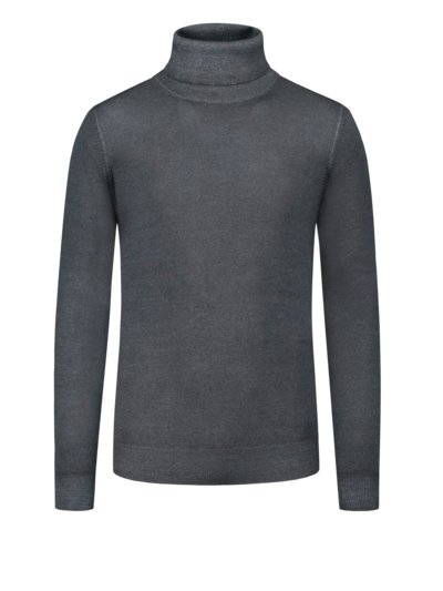 Turtleneck sweater in extra fine merino wool, extra long v ANTHRACITE