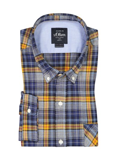 Checked shirt with stretch content v YELLOW