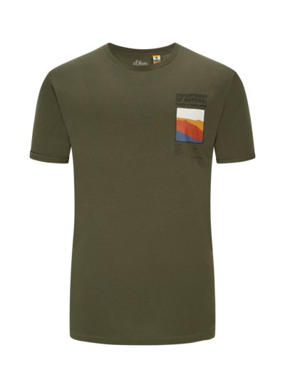 T-shirt with stylish print v OLIVE-