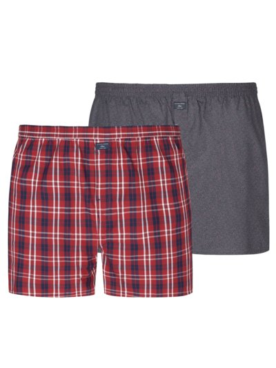 2er Pack Boxershorts, mit Muster in ROT