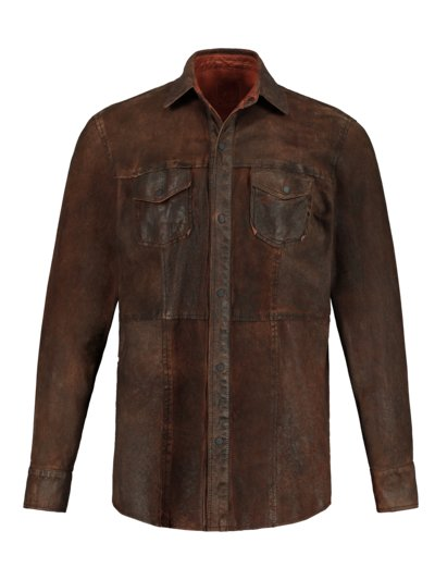 Reversible leather shirt in a nappa look v BROWN