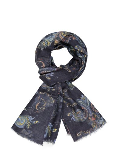 100% wool scarf v BLUE