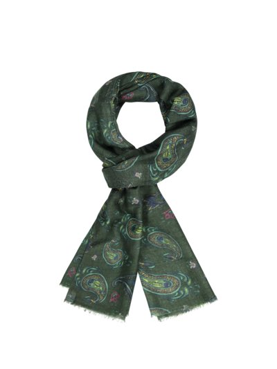 Scarf with a paisley pattern v GREEN