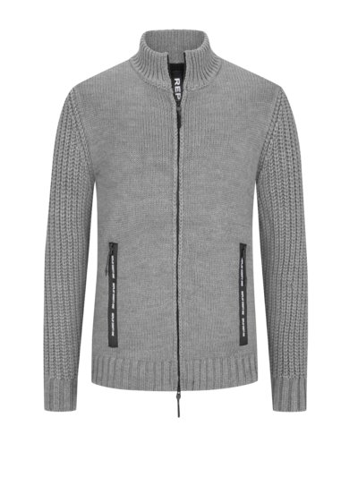 Cardigan with teddy fleece lining v GREY