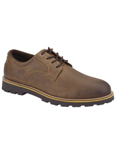 Lace-up Derby shoes with fleece lining v BROWN