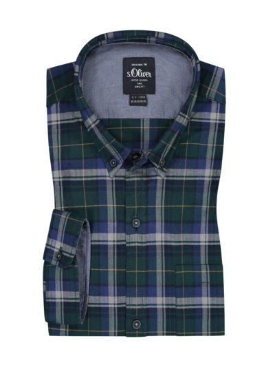 Casual shirt with check pattern, Comfort Stretch v GREEN