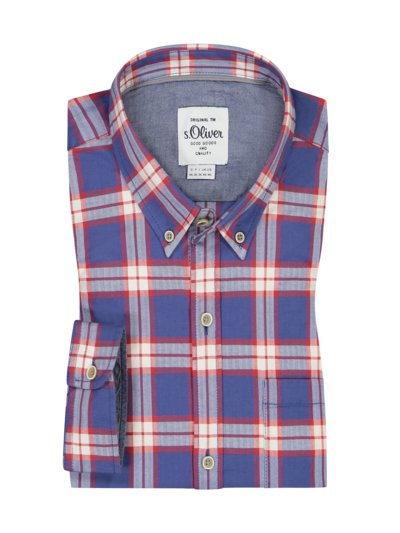 Casual shirt with check pattern, Comfort Stretch v BLUE