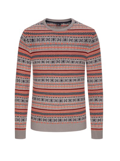 Pullover mit Norweger-Muster, Extralang in GRAU