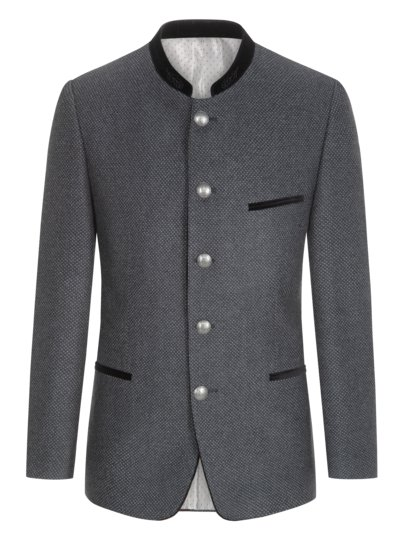 Traditional jacket with micro pattern v ANTHRACITE