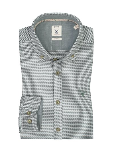 Traditional shirt with micro pattern v GREEN