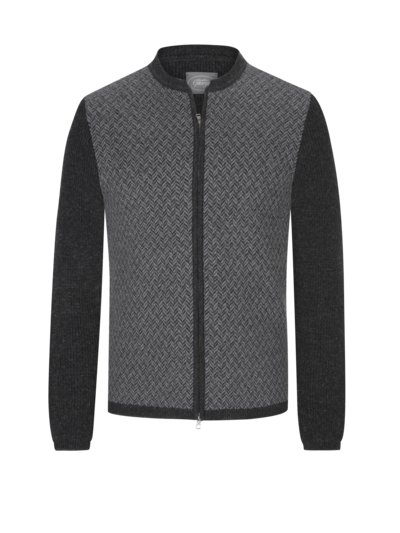 Traditional cardigan with herringbone pattern v ANTHRACITE