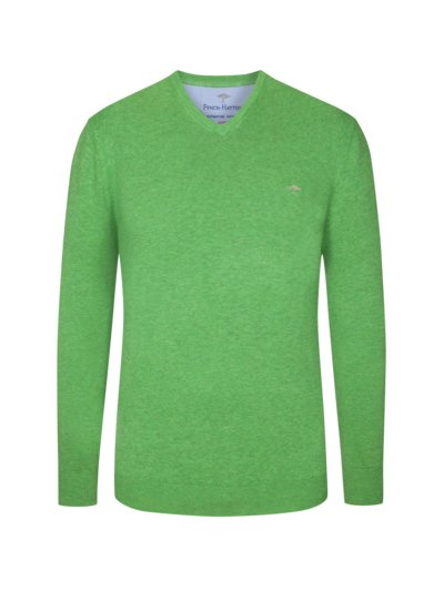 Sweater with V-neck, 3-ply cotton v GREEN