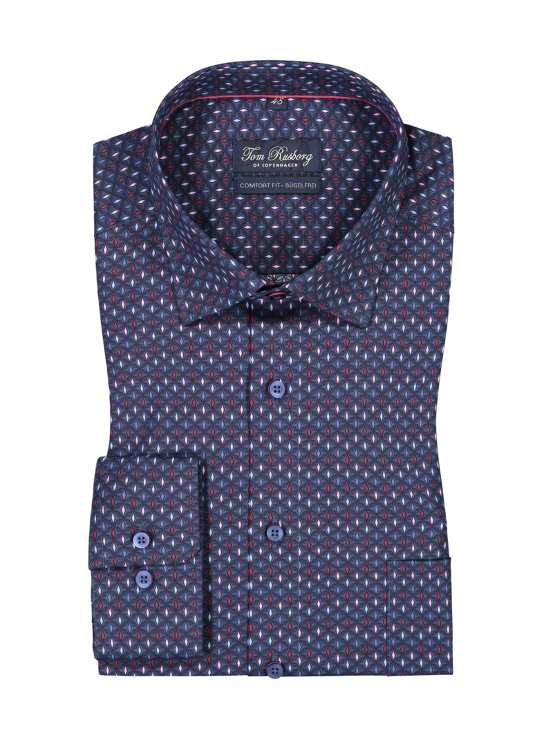 Tom Rusborg Shirt with micro print and breast pocket MARINE in plus size