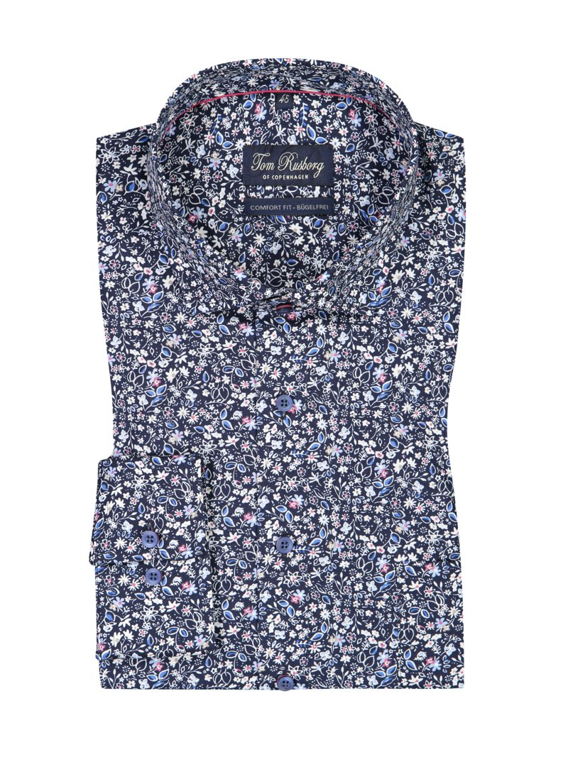 Tom Rusborg Shirt with floral pattern and breast pocket MARINE in plus size