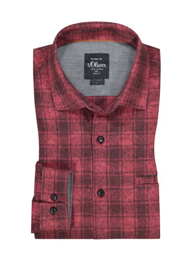 Shirt with stylish checked pattern v RED