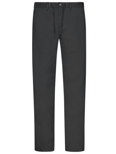 Linen chinos with stretch waistband v BLACK
