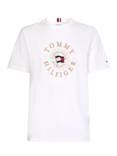 T-shirt with logo emblem v WHITE