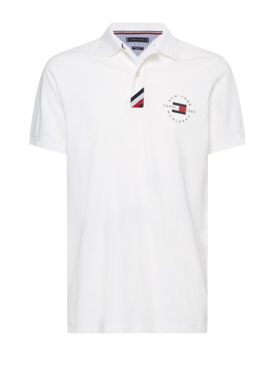 Polo shirt with logo print v WHITE