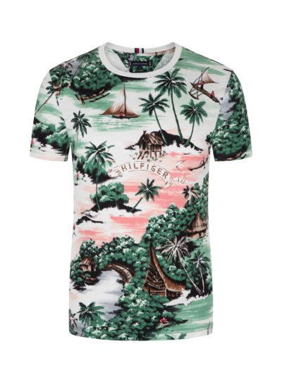T-shirt with Hawaiian print v GREEN