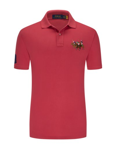 Poloshirt mit modischer Stickerei in ROT
