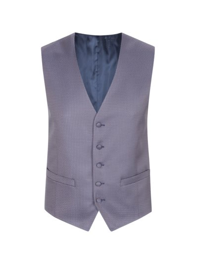 Waistcoat with micro pattern v BLUE