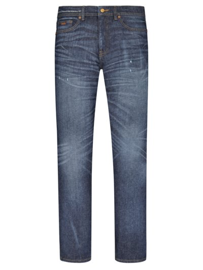 5-Pocket Jeans mit Hanf-Anteil, Regular Fit in BLAU