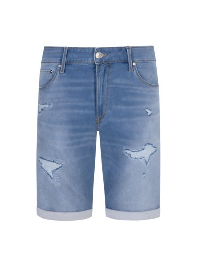Denim shorts with destroyed effect v LIGHT BLUE