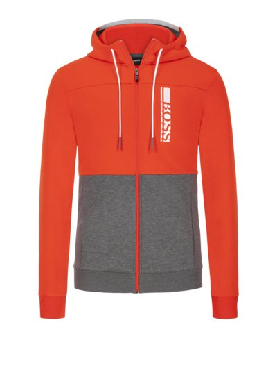 Sweatjacke im Colour-Blocking in ORANGE