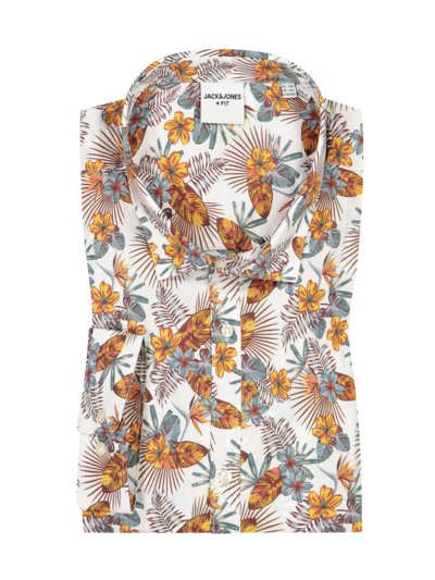 Casual shirt with a floral print v WHITE