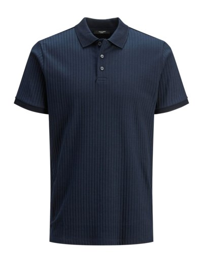 Polo shirt with ribbed texture v MARINE