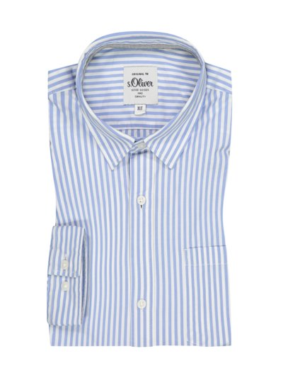 Shirt with striped pattern, extra long v LIGHT BLUE