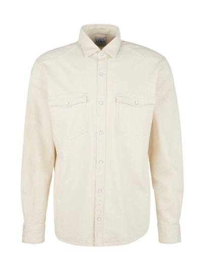 Denim shirt with two breast pockets v BEIGE