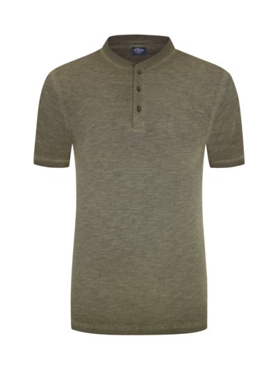 T-shirt with a short button placket, extra long v OLIVE-