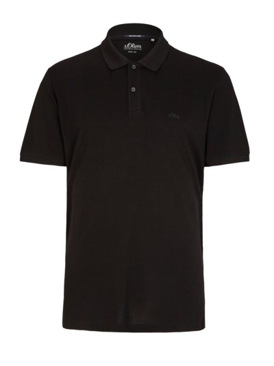 Polo shirt with embroidered logo v BLACK