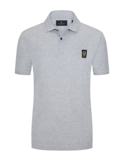 Poloshirt mit Logo-Patch in GRAU
