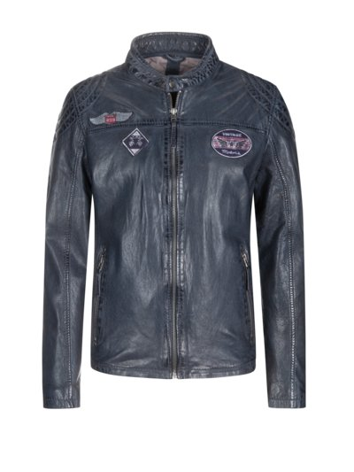Leather jacket with patches v BLUE