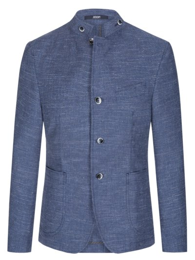 Blazer with standing collar and micro texture v ROYAL