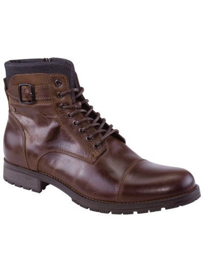 Leather boots with zip v BROWN