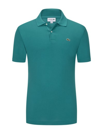 Poloshirt mit Logo-Aufnäher, Classic Fit in PETROL