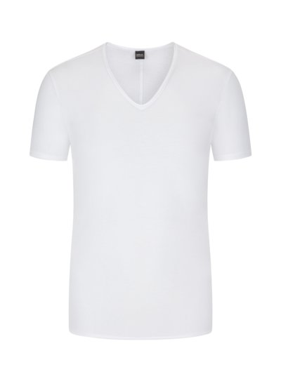 T-shirt with shallow V-neck v WHITE