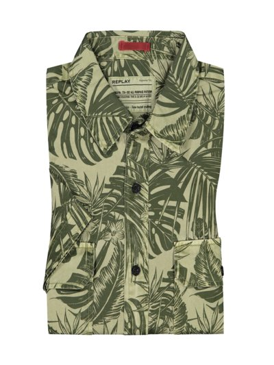 Short-sleeved shirt with fern print v OLIVE-