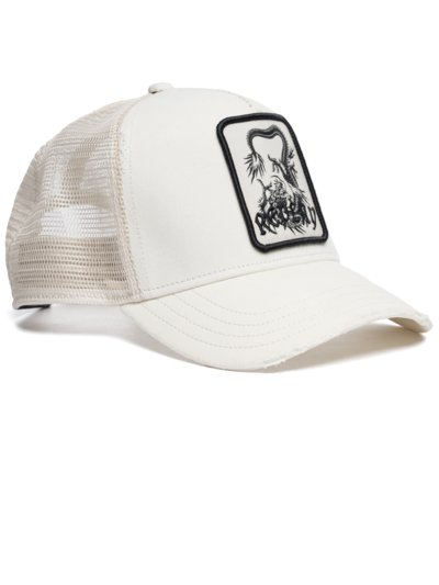 Cap with logo emblem v WHITE