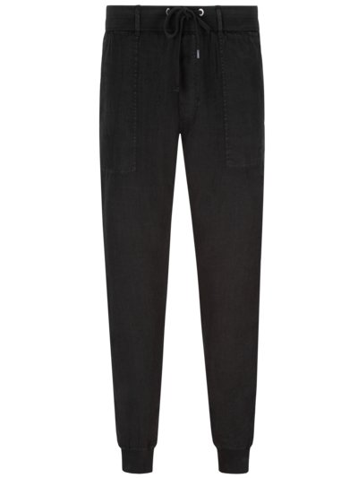 Jogging bottoms in linen fabric v BLACK