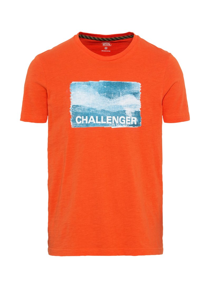 camel active T-Shirt mit Frontprint ORANGE in Übergröße