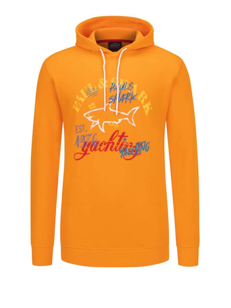 Paul & Shark Sweatshirt mit Frontprint ORANGE in Übergröße