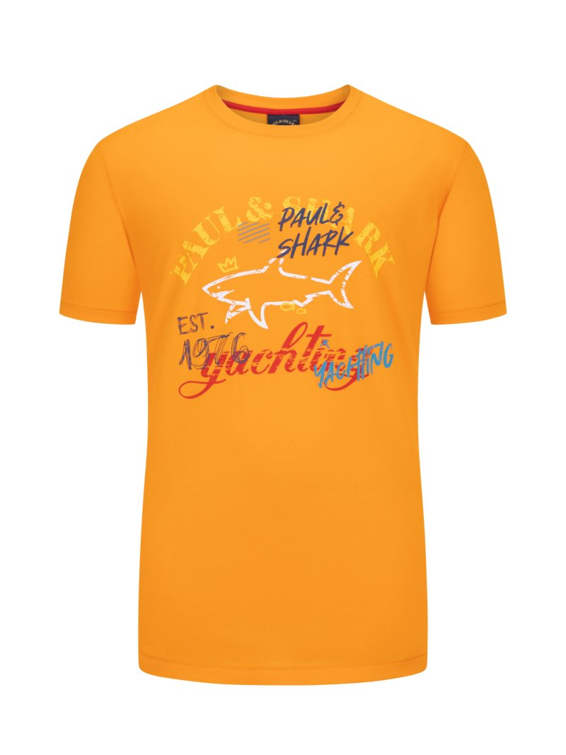 Paul & Shark T-Shirt mit Frontprint ORANGE in Übergröße