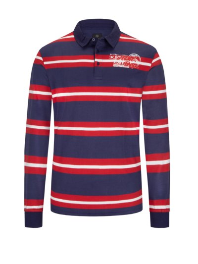 Rugby shirt with horizontal stripes v BLUE